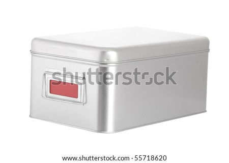 silver steel box with red blank label on white background - stock photo