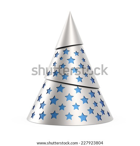 Silver stylized Christmas tree with blue stars, isolated on white background