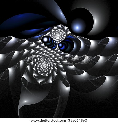 Silver swirl. Abstract fantasy shapes on black background. Computer-generated fractal in deep blue, grey and white colors.