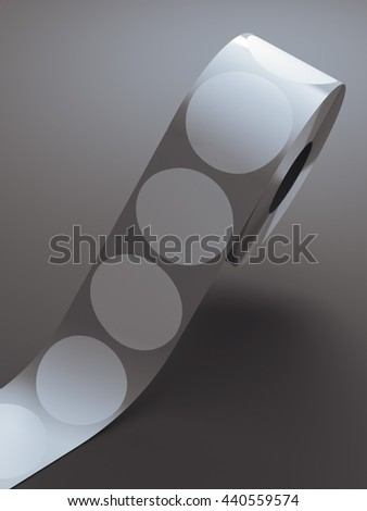 Silver tape with white circle stickers in gray studio. 3d rendering