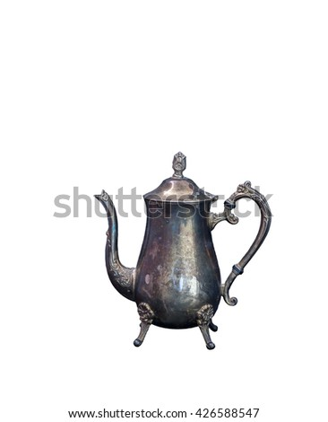 Silver teapot isolated on white background
