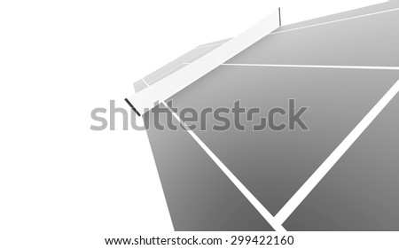 Silver tennis court rendered isolated on white background - stock photo