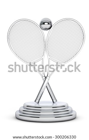 Silver Tennis Trophy on a white background - stock photo