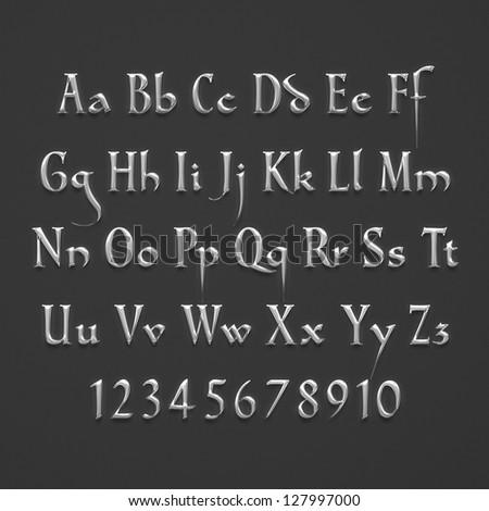 Silver Text Alphabet on dark background - stock photo