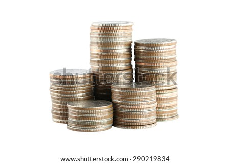 silver Thailand coins stack isolated on white background with clipping paths. - stock photo