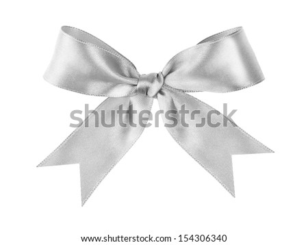 silver tied festive bow made from ribbon, isolated on white - stock photo