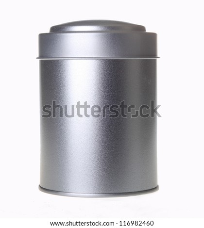 silver tin can - stock photo