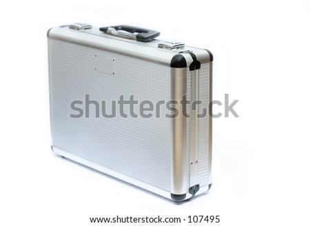 Silver toned metal briefcase, isolated