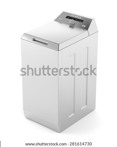 Silver top load washing machine on white background - stock photo