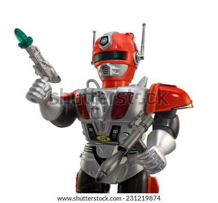 Silver toy robot closeup.Isolated armored plastic silver red toy robot with guns, closeup view.