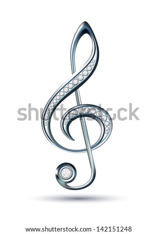 Silver treble clef with diamonds isolated on the white background. - stock photo