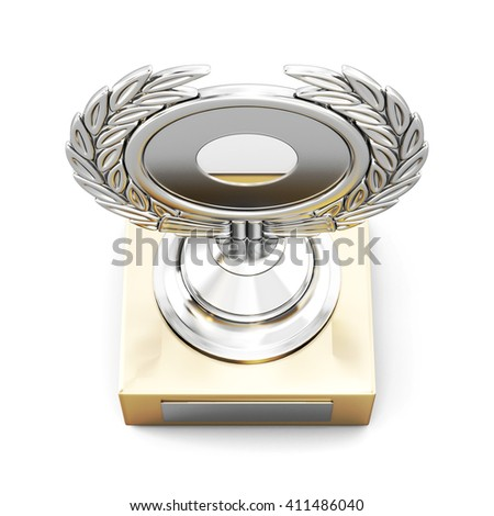 Silver trophy award with laurel wreath isolated on white background. Top view. 3d render image. - stock photo