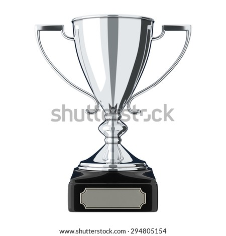 Silver trophy cup isolated on white background. Victory, best product, service or employee, first place concept. Achievement in sports. Isolated on white background. - stock photo