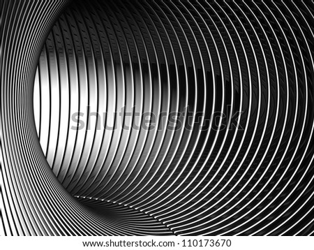Silver tunnel 3d backgroud illustration - stock photo