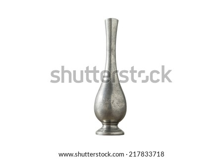 Silver vase isolated on white background