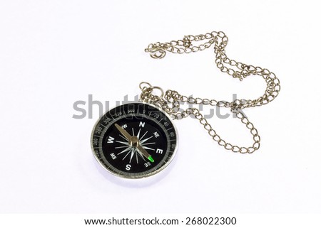 Silver Vintage Compass. - stock photo