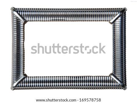 Silver vintage frame on white  - stock photo