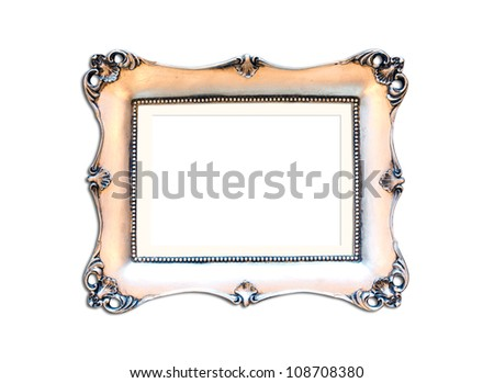 Silver Vintage picture frame, wood plated, white background, clipping path included - stock photo