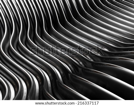 Silver wave curve metal background 3d illustration