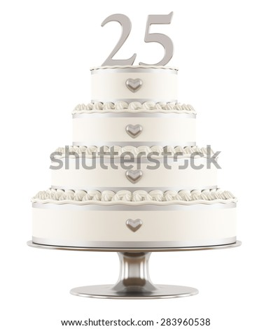 Silver wedding cake isolated on white - 3D Rendering