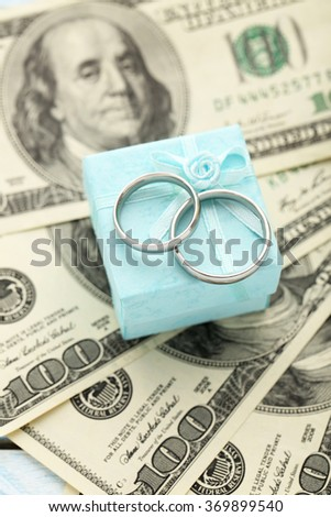 Silver wedding rings on one hundred dollars bill background