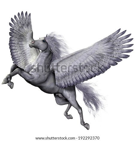Silver Winged Pegasus - Pegasus is a winged divine stallion who was sired by the god Poseidon of folklore and legend. - stock photo