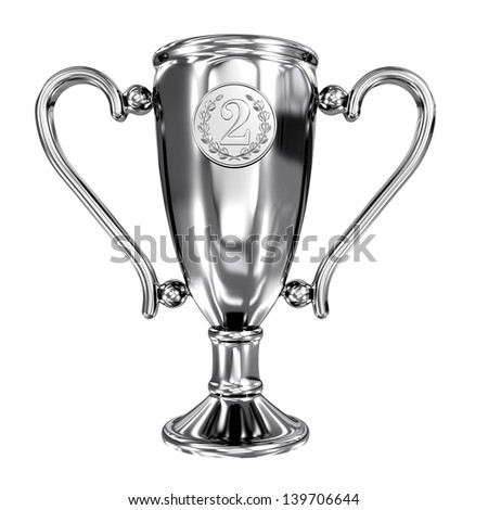 Silver winner cup isolated on white - stock photo