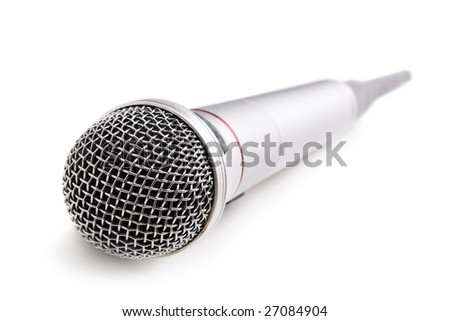 Silver wireless microphone isolated over white background
