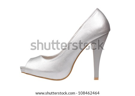 Silver women's heel shoe isolated over white with clipping path. - stock photo