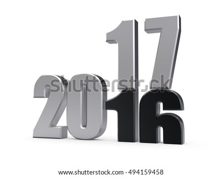 Silver 2017 year on a white background. 3d rendered image.