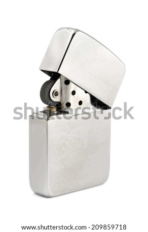 Silver zippo lighter isolated on a white background - stock photo