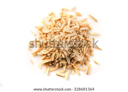 Silvered, sliced almonds on isolated white background, top view - stock photo