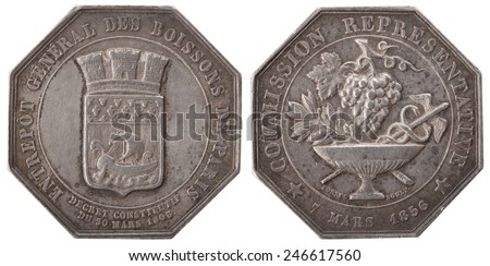 Silvers token, Coat of arms of Paris, vase, bunch of grapes and the rod of Hermes. General warehouse drinks in Paris. Representative Commission 1856. France, isolated on white - stock photo