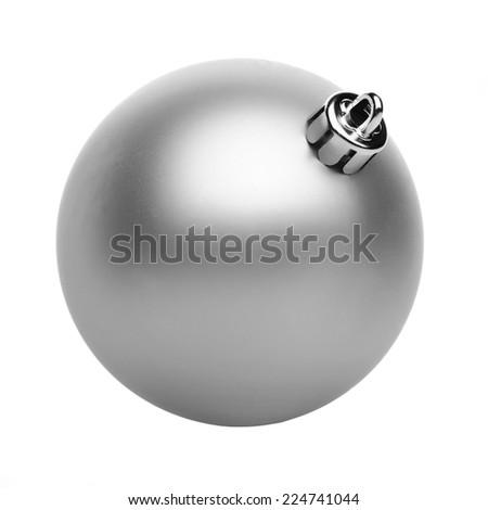 Silvertmas ball isolated on white background - stock photo