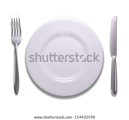 Silverware and empty plate. Your text or image on the plate.