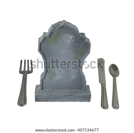 Silverware and Headstone to show the danger of eating certain things or eating disorders - path included