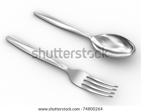 Silverware. Isolated on white with shadows.