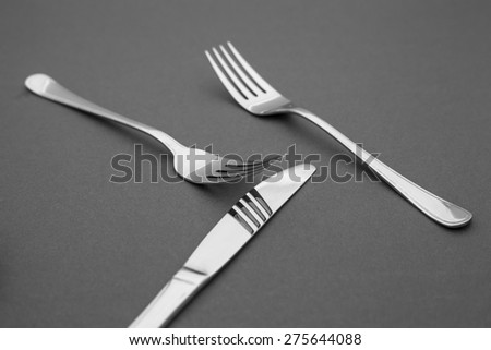 silverware, knife and forks - stock photo