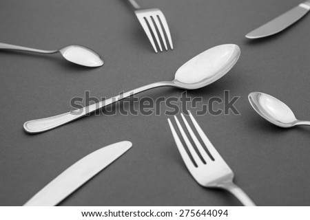 silverware, spoons, knives and forks - stock photo
