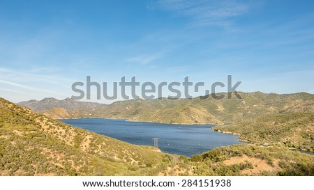 Silverwood Lake Overlook from Rim of the World Scenic Byway (CA-138), near Crestline, California. - stock photo