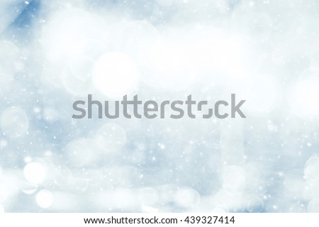 silvery blue highlights snow rain water blurred background - stock photo