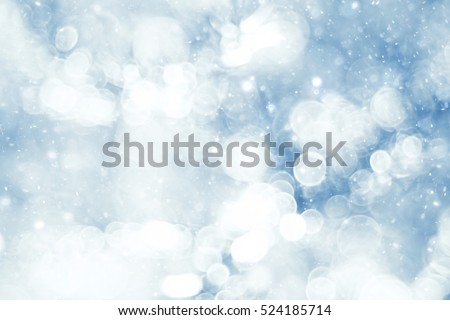 silvery blue highlights snow rain water blurred background