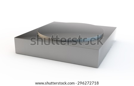 silvery pedestal with two levels different in a form - stock photo