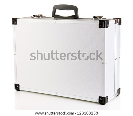 Silvery suitcase isolated on white - stock photo
