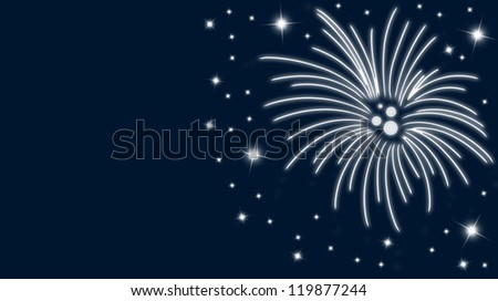 Silvester card with fireworks and stars in blue - stock photo