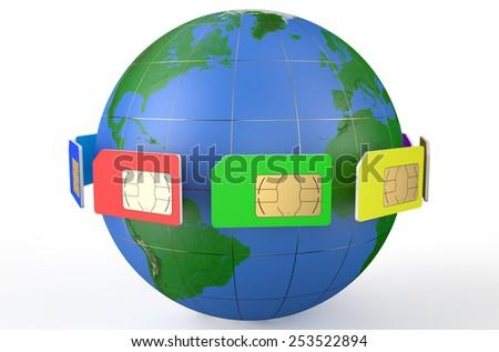SIM card around  Earth globe isolated on white background - stock photo