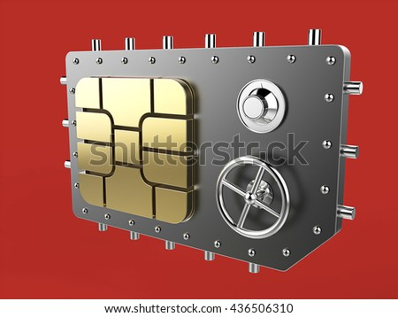 sim card as vault safe, mobile online connectivity security concept. high safety level metaphor, web protection technology 3d render isolated - stock photo