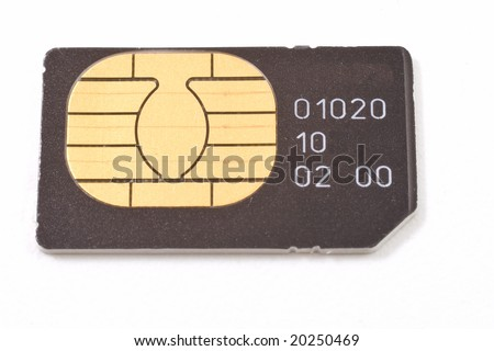 Sim card isolated on white background - stock photo