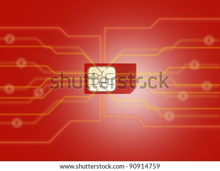 sim card on illustrate background - stock photo