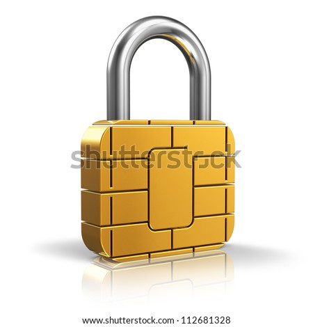 SIM card or credit card security concept: golden padlock from card microchip isolated on white background with reflection effect - stock photo